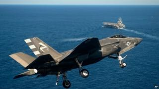 F-35 approaching USS Nimitz aircraft carrier