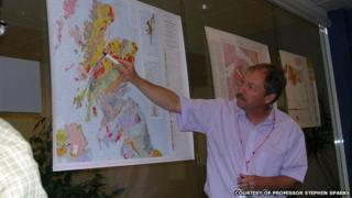 Prof Stephen Sparks pointing out ancient volcanoes in the Scottish Highlands