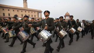 Members of the Indian Army band rehearse in Delhi on Monday, Jan. 19, 2015