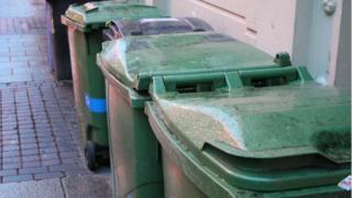 green wheelie bins