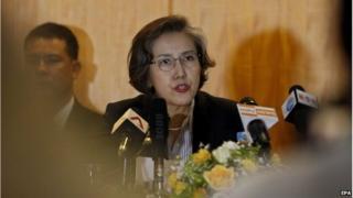 UN Special Rapporteur Yanghee Lee at a news conference in Yangon, Myanmar (21 Jan 2015)
