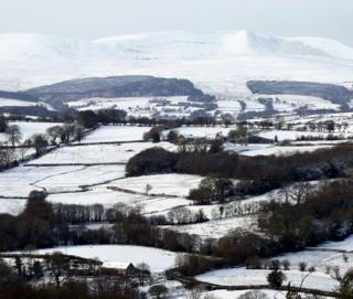 The view from Defynnog, Powys, after heavy snow