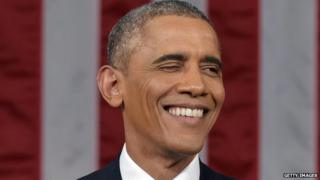 President Barack Obama winks during the State of the Union address.