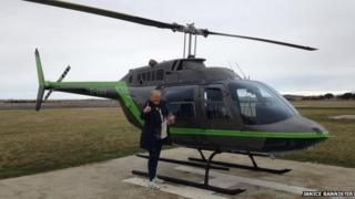 Janice Bannister with helicopter