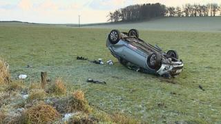 Car overturned in Aberdeenshire