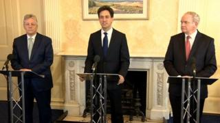 Peter Robinson, Ed Miliband and Martin McGuinness held a joint press conference at Stormont after their meeting