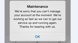 Screen grab of banking app