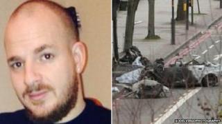 Michael Paxman and scene of the crash