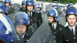 Police in riot gear during the 1984/5 miners' strike