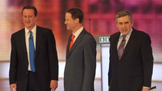 David Cameron, Nick Clegg and Gordon Brown in 2010