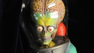 An alien puppet from the film Mars Attacks!