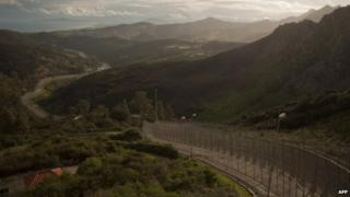 File photograph of Ceuta's border with Morocco