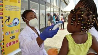 Ebola testing at the African Cup of Nations football tournament in Bata, Equatorial Guinea