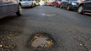 Pothole in London street