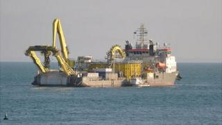Ndurance undersea electricity cable repair ship off Guernsey