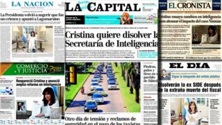 Composite of Argentinean newspapers
