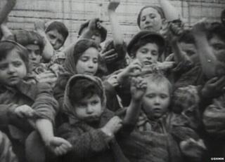Children at Auschwitz show the identification numbers printed on their arms