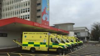 Ambulances outside UHW