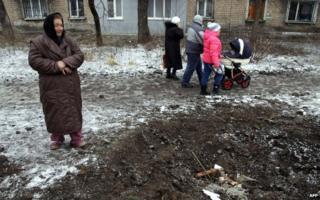 Crater from shell in Makiivka near Donetsk (27 Jan)