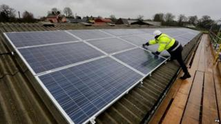 Solar panels on cowshed