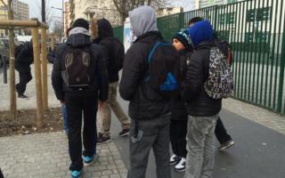 Children outside a school in Saint-Denis