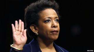 Loretta Lynch is sworn in to testify before a Senate Judiciary Committee confirmation hearing on her nomination to be U.S. attorney general on Capitol Hill in Washington 28 January 2015
