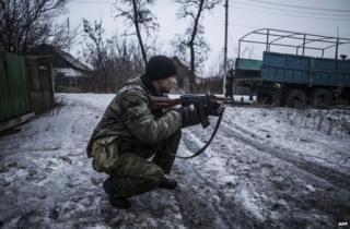 A separatist rebel near Debaltseve, Donetsk region, 28 January