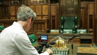 Filming inside the Commons chamber