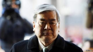 Korean Air Chairman Cho Yang-ho arrives to testify at the court hearing of his daughter Cho Hyun-ah at the Seoul Western District court in Seoul on Friday