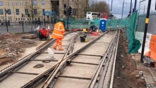 Tram line work in Wolverhampton