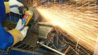 Close up angle grinding