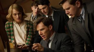 Benedict Cumberbatch (centre) with co-stars of The Imitation Game