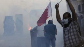 Bahraini anti-government protesters in Bilad al-Qadeem (30 January 2015)