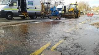 Flooded road Leicester