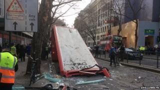 Crashed bus in London