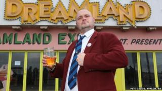 Al Murray outside Dreamland amusement park in Margate