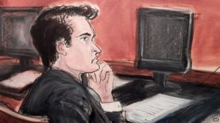 Ross William Ulbricht listens to proceedings from the defense table during opening arguments in his criminal trial in New York 13 January 2015