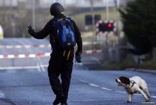 Policeman and dog at Lurgan security alert