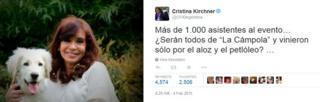 Critina Fernandez's tweet