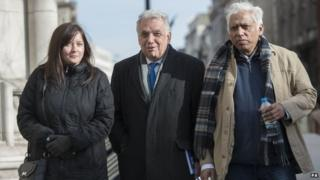 Petitioners Angela Moffat Andy Erlam and Azmal Hussein (right) outside the Royal Courts of Justice
