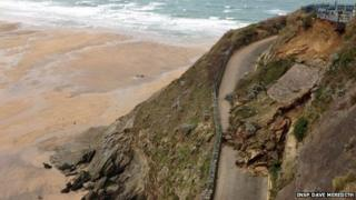 Great Western Beach road landslide