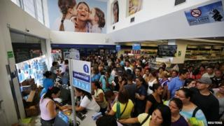 People queuing at the Farmatodo drugstore Caracas Feb 3 2015