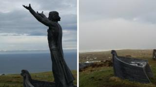 The Manannán Mac Lír statue at the viewing point on Binevenagh Mountain has been stolen