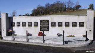 The memorial commemorates the Kingsmill massacre of 1976, in which 10 Protestant workmen were shot dead by the IRA