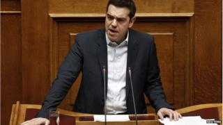 Greek Prime Minister Alexis Tsipras addresses parliament, 8 February 2015