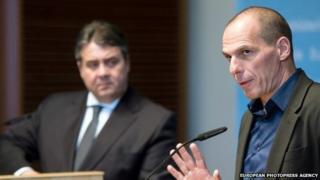 German Minister of Economics Sigmar Gabriel and Greek Finance Minister Yanis Varoufakis