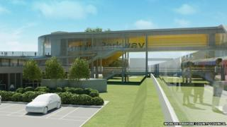 Artist's impression of the proposed Worcestershire Parkway rail station