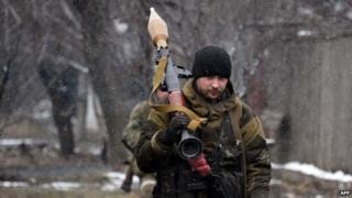 Pro-Russian rebel near Debaltseve