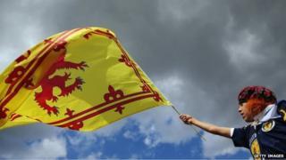 Fan waves flag