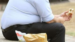 Obese person eating